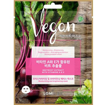 Lomi Lomi Vegan Sheet Mask – wegańska maseczka w płachcie Burak (20 ml)