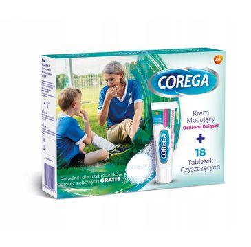 Corega – zestaw krem mocujący Ochrona Dziąseł (40 g) + tabletki do czyszczenia protez zębowych (18 szt.)