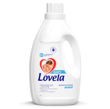 Lovela – Baby hipoalergiczne mleczko do prania ubranek niemowlęcych i dziecięcych do bieli (1.45 l)