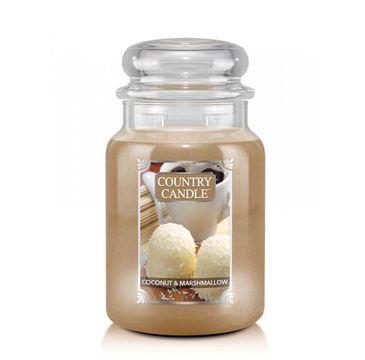 Country Candle – Duża świeca zapachowa z dwoma knotami Coconut Marshmallow (680 g)