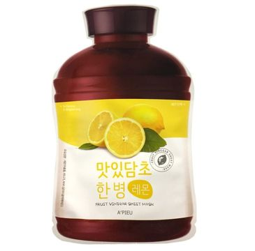 A'Pieu Fruit Vinegar Sheet Mask nawilżająco-rozjaśniająca maseczka w płachcie Lemon 25g