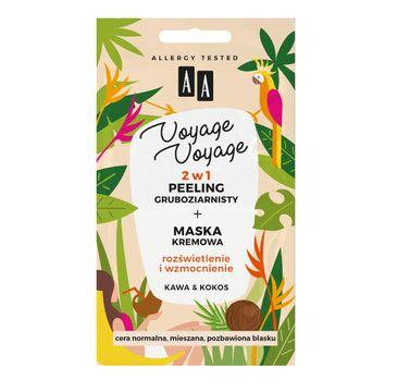 AA Voyage Voyage 2w1 peeling gruboziarnisty+maska kremowa kawa&kokos (2 x 5 ml)