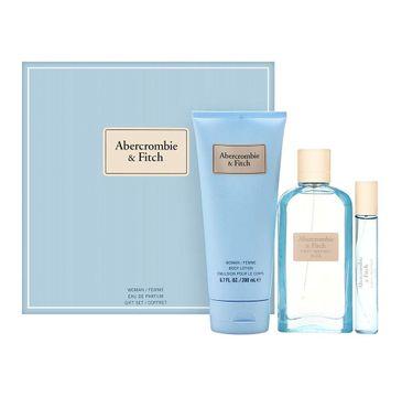 Abercrombie&Fitch First Instinct Blue Woman zestaw woda perfumowana spray 100ml + miniatura wody perfumowanej 15ml + balsam do ciała 200ml