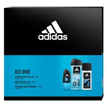 Adidas Zestaw prezentowy Ice Dive Men deo roll-on 50ml+ deo atomizer 75ml+ żel pod prysznic 250ml (1 szt.)