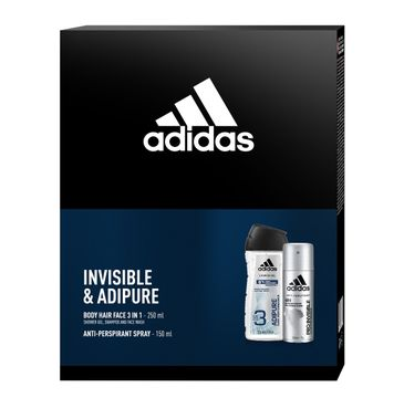 Adidas Zestaw prezentowy Pro Invisible & Adipure Men deo spray 150ml+żel pod prysznic 250ml