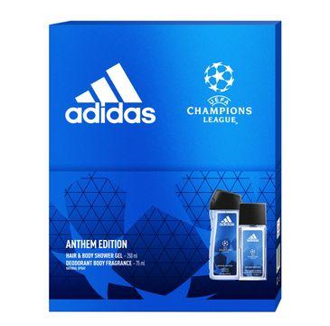 Adidas Zestaw prezentowy UEFA Anthem Edition Men deo atomizer 75ml+żel pod prysznic 250ml