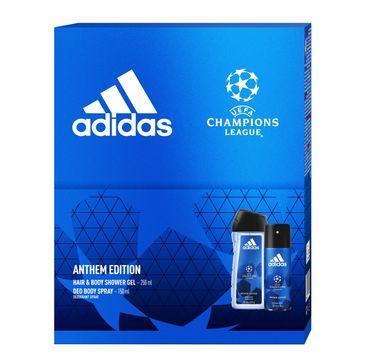 Adidas Zestaw prezentowy UEFA Anthem Edition Men deo spray 150ml+żel pod prysznic 250ml
