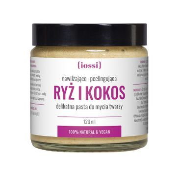 iossi – Ryż i Kokos delikatna pasta do mycia twarzy nawilżająco-peelingująca z proteinami ryżowymi i ekstraktem z kokosa (120 ml)