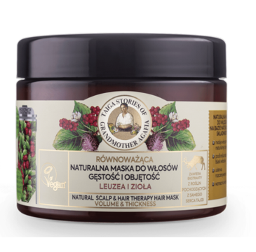 Babuszka Agafia Naturalna maska zwiększająca gęstość i objętość włosów z leuzelą i ziołami (300 ml)