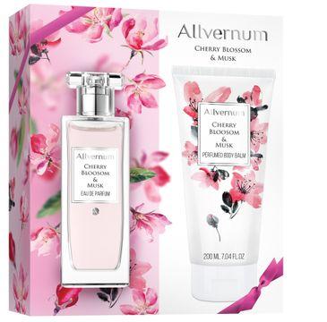 Allvernum zestaw prezentowy dla kobiet woda perfumowana Cherry Blossom & Musk 50 ml balsam perfumowany 200 ml