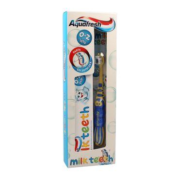 Aquafresh Milk Teeth zestaw pasta do zębów dla dzieci 0-2 lat 50 ml + szczoteczka do zębów 1 szt.