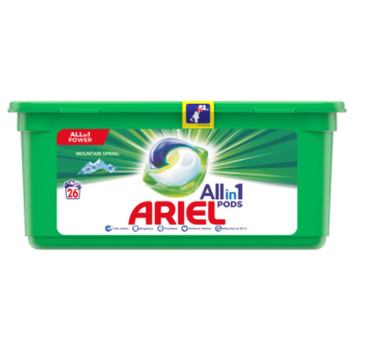 Arie All in1 Pods Mountain Spring kapsułki do prania białych tkanin (26 szt.)