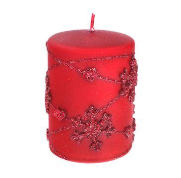Artman – Boże Narodzenie Świeca ozdobna Snowflakes czerwona - walec mały (1 szt.)