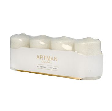 Artman świeca ozdobna 4-pack Brokat biała walec mały (1op.- 4 szt.)