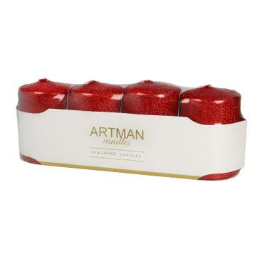 Artman świeca ozdobna 4-pack Brokat czerwona walec mały (1op.- 4 szt.)