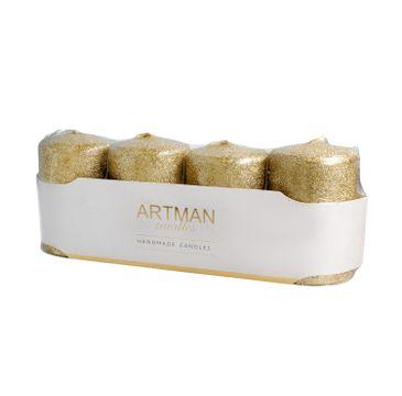 Artman świeca ozdobna 4-pack Brokat złota walec mały (1op. - 4 szt.)