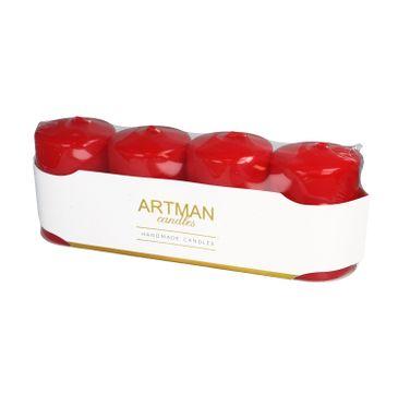 Artman świeca ozdobna 4-pack Mat czerwona walec mały (1op.- 4 szt.)