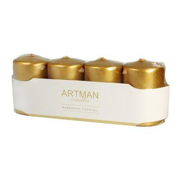 Artman świeca ozdobna 4-pack Metalic złota walec mały (1op.- 4 szt.)