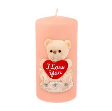 Artman – Świeca ozdobna TEDDY w kształcie walca w kolorze różowym (1 szt.)