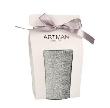 Artman – Świeca ozdobna Glamour Glass srebrna - walec średni (1 szt.)