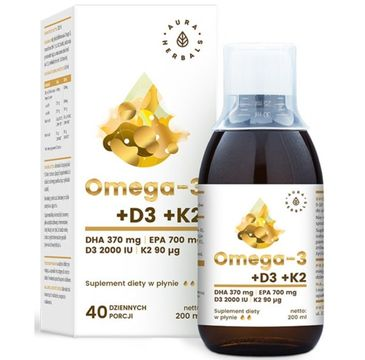 Aura Herbals Omega 3 + D3 + K2mk7 suplement diety w płynie 200ml