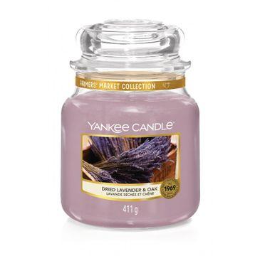 Yankee Candle – Świeca zapachowa średni słój Dried Lavender & Oak (411 g)