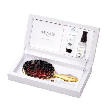 Balmain Golden Spa Brush - zestaw prezentowy - złota szczotka do włosów + Argan Elixir 20 ml + Leave-In Conditioner Spray 50 ml