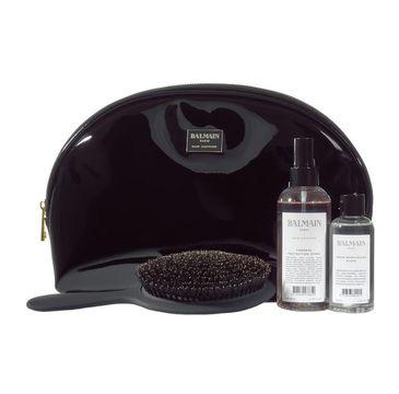 Balmain Limited Edition Cosmetic Bag zestaw duża czarna lakierowana kosmetyczka + Thermal Spray 200ml + Argan Elixir 100ml + szczotka z włosia dzika
