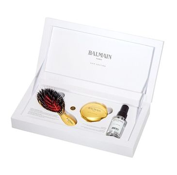 Balmain Luxury Set Brush + 24 Carat Gold Mirror Mini + Silk Perfume 50ml