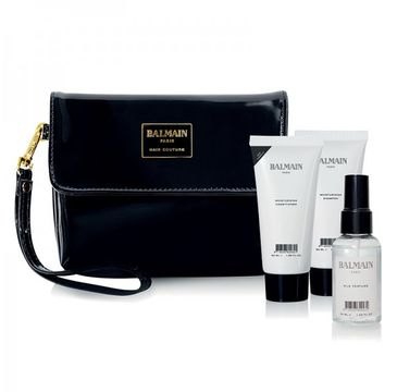 Balmain Set Limited Edition Cosmetic Bag Winter 2018 kosmetyczka + szampon nawilżający 50ml + odżywka 50ml + perfumy z jedwabiem 30ml