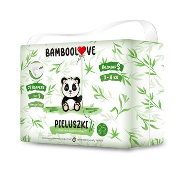 BambooLove Pieluszki jednorazowe z włóknem bambusowym rozm. S 3-8 kg (25 szt.)