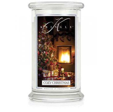 Kringle Candle – Duża świeca zapachowa z dwoma knotami Cozy Christmas (623 g)