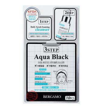 Bergamo 3 Step Aqua Black Mask – 3-etapowa maseczka przeciwzmarszczkowa z rumiankiem i oczarem wirginijskim (28 ml)