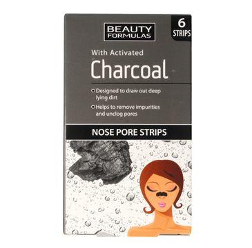Beauty Formulas Charcoal płatki oczyszczające na nos z aktywnym węglem 1 op. - 6 szt.