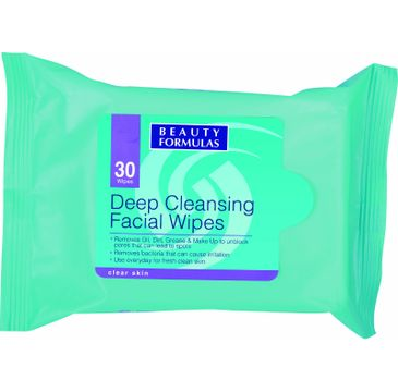 Beauty Formulas Skin Care Głęboko oczyszczające chusteczki do twarzy 30 szt