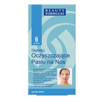 Beauty Formulas Skin Care głęboko oczyszczające paski na nos 6 szt.