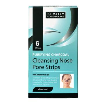 Beauty Formulas Skin Care głęboko oczyszczające paski na nos z węglem 6 szt.