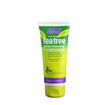 Beauty Formulas Tea Tree maska do każdego typu skóry glinkowa głęboko oczyszczająca 100 ml
