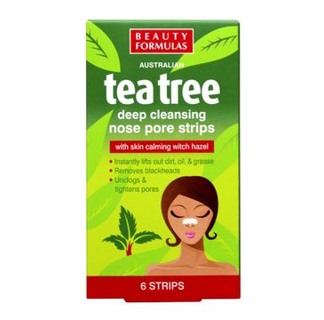Beauty Formulas Tea Tree paski na nos głęboko oczyszczające 1 op - 6 szt.