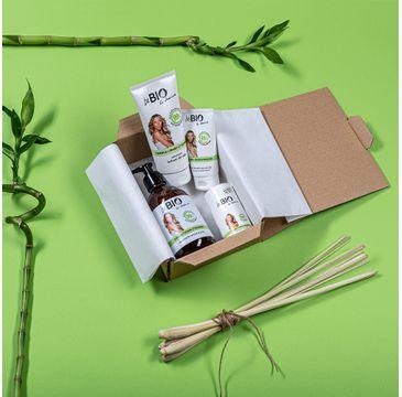 BeBio Bambus i Trawa Cytrynowa zestaw żel pod prysznic 400 ml + balsam do ciała 200 ml + krem do rąk 75 ml + dezodorant w kulce 50 ml (1 szt.)