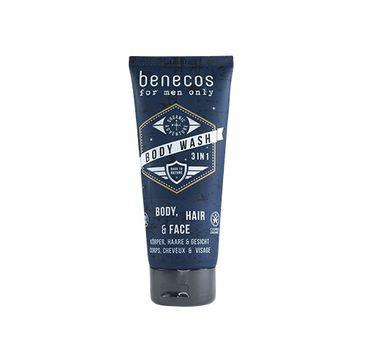 Benecos For Men Only – Body Wash naturalny odświeżający żel do mycia twarzy ciała i włosów (200 ml)