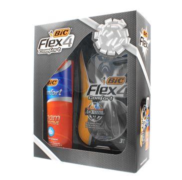 Bic Zestaw prezentowy Flex 4 Comfort maszynka 3 szt. + pianka do golenia Sensitive 250 ml