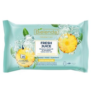 Bielenda – Fresh Juice chusteczki micelarne Ananas do demakijażu twarzy, oczy i ust (20 szt.)