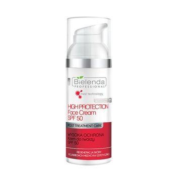 Bielenda Professional High Protection Face Cream – krem do twarzy SPF 50 – regeneracja skóry po zabiegach medycyny estetycznej (50 ml)