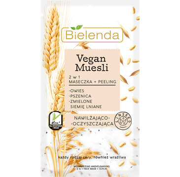 Bielenda Vegan Muesli – maseczka nawilżająca + peeling oczyszczający (8 g)