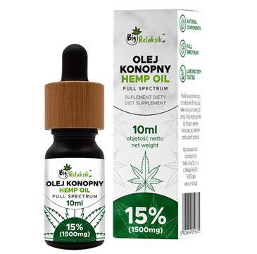 BigRelaksik Hemp Oil Full Spectrum 15% 1500mg suplement diety w kroplach Olej Konopny 10ml
