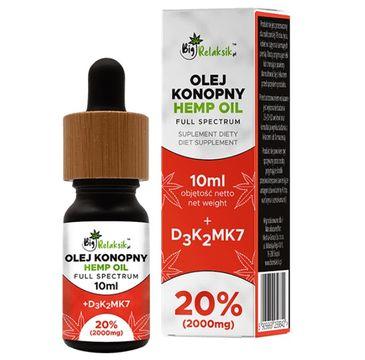 BigRelaksik Hemp Oil Full Spectrum 20% 2000mg suplement diety w kroplach Olej Konopny + D3K2MK7 10ml