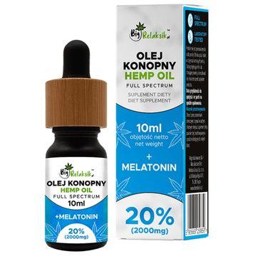 BigRelaksik Hemp Oil Full Spectrum 20% 2000mg suplement diety w kroplach Olej Konopny + Melatonina 10ml