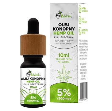 BigRelaksik Hemp Oil Full Spectrum 5% 500mg suplement diety w kroplach Olej Konopny 10ml