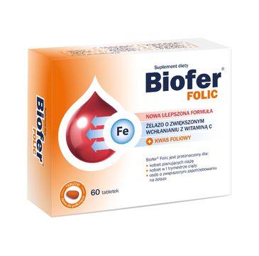 Biofer Folic żelazo o zwiększonym wchłanianiu z witaminą C i kwasem foliowym (60 tabletek)